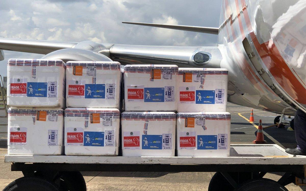 ENFRENTAMENTO À COVID   Roraima recebe mais de 73 mil vacinas Coronavac nesta quarta-feira